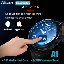 Ainuevo A1 Business Smart Watch 0.49 Inch OLED Sapphire Air Touch 3ATM Waterproof Heart Rate Monitor Blood Blood Oxygen Pressure(China)