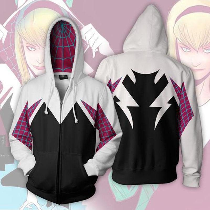 HOT! 3D Printed Spider Gwen Stacy Spider Hoodies Unisex Streetwear Men Women Casual Zip Up Sweatshirt Hooded Halloween Costume