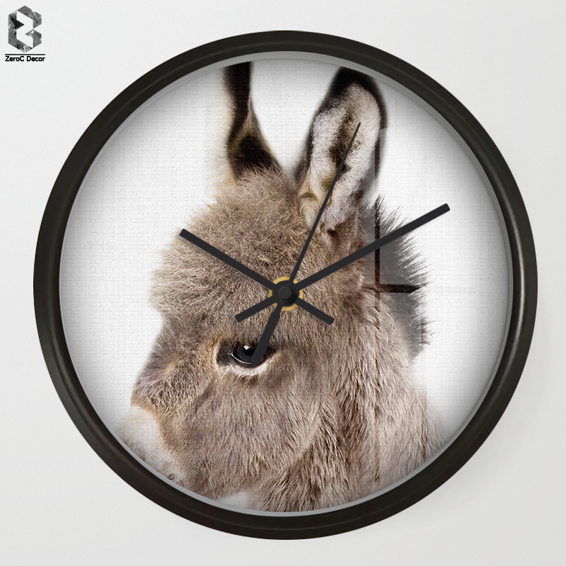 Chic Art Wall Clock Donkey For Kids Room Wall Decor, Table Decorative Mute Quartz Clocks Nordic Saat Nursery Home Decoration