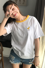 2017 Summer Fruit Embroidered College Wind Patchwork Loose Cotton Short Sleeve Female T-shirts