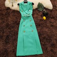 2018 autumn Women Notched Collar Office lady Blazer Dress Sleeveless Double Breasted Sexy pencil Dress