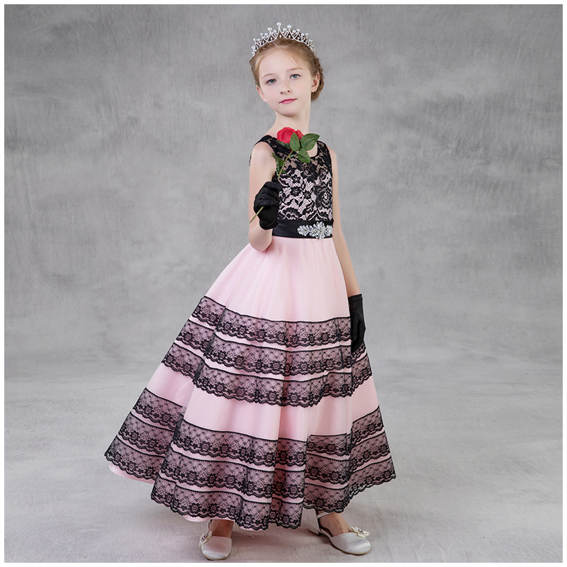 2019 New European And American Style   Flower     Girl     Dresses   Ball Gown Pink Lace Tulle Striped Embroidered O-neck Sleeveless