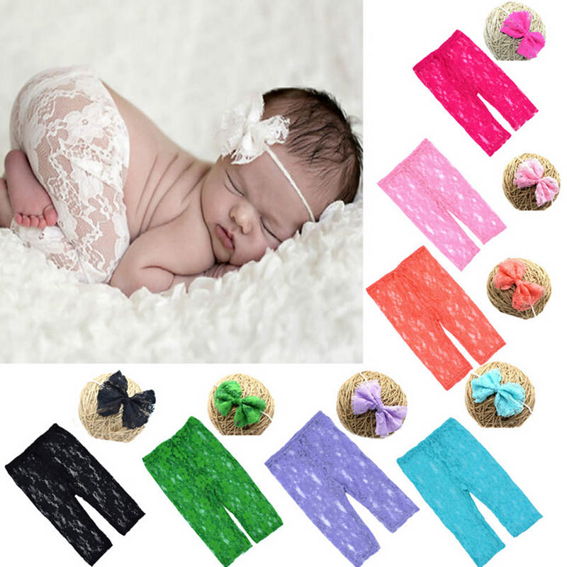 Colorful Newborn Baby Photography Accessories Props Lace Baby Girl Headband & Pants Set Roupas Infantil Meninas Infant Clothes newborn baby photography props infant knit crochet costume peacock photo prop costume headband hat clothes set baby shower gift
