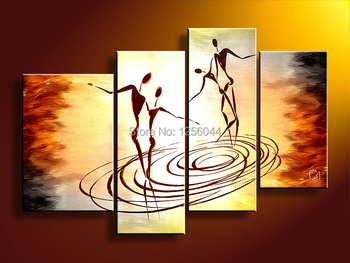 handpainted 4 piece Abstract dance painting wall art pictures for living room Home Decor on Canvas painting large wall