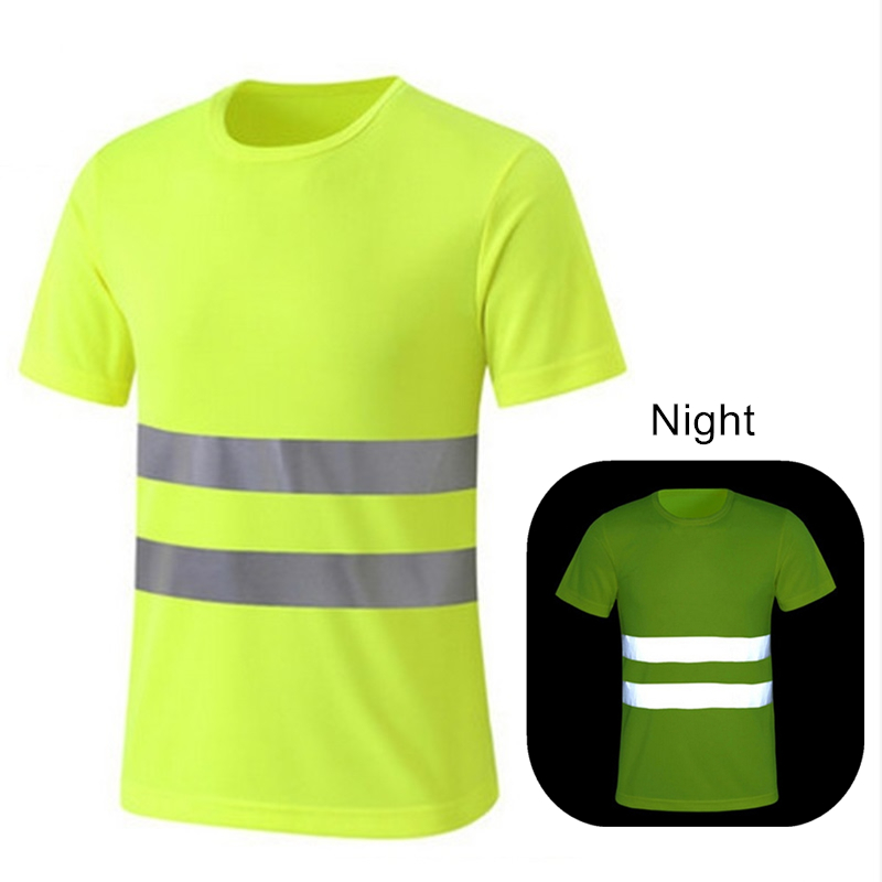 Quick Dry Night Safety Work Shirt Summer Reflective T Shirt For Night Work Safety Clothing Breathable Work Clothes Workwear