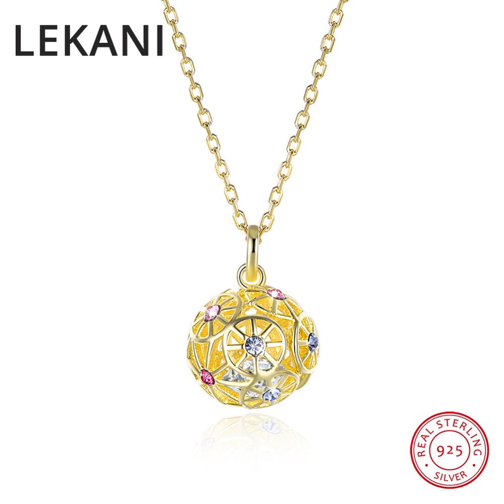 LEKANI Colorful Ball Pendant Necklaces Crystals From Swarovski 925 Sterling Silver Gold Plated Collars Fine Jewelry For WomenLEKANI Colorful Ball Pendant Necklaces Crystals From Swarovski 925 Sterling Silver Gold Plated Collars Fine Jewelry For Women