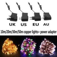 Cadena de alambre de cobre Led impermeable, luces decorativas de hadas estrelladas con adaptador de corriente (enchufe de Reino Unido, EE. UU., UE, AU), 10M/20M/30M/50M