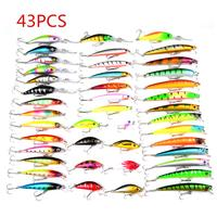 43pcs Highly Simulated Fishing Lure Set Mixed 6 Models Minnow Crankbait Bass Carp Perch Fishing Crank Bait with Treble Hooks