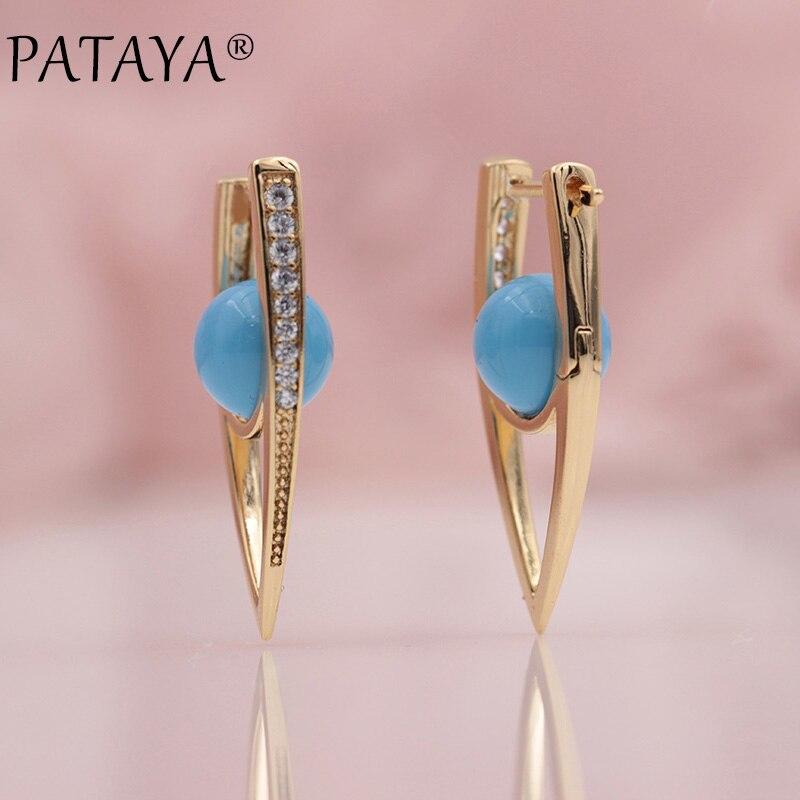 PATAYA Neue 585 Rose Gold Micro-wachs Inlay Natürliche Zirkon Multicolor Shell Perlen Einzigartige Ohrringe Frauen Hochzeit Feine schmuck