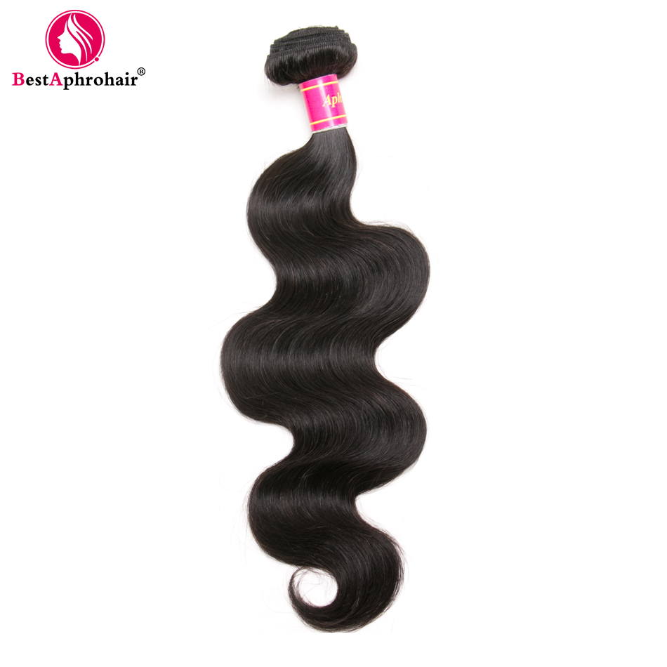 Aphro Hair Brazilian Body Wave 1PC 100% Human Weave Bundles 8-28inch Mixed Length Natural Color #1B Non Remy Hair Extensions