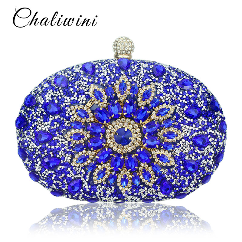 Wedding Diamond Floral Woman Bag Clutch Bag Blue Crystal Handbags Sling Package cell phone pocket Matching Bag Wallet Purse(China)