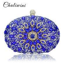 Ślub diament kwiatowy kobieta torba kopertówka niebieski kryształ torebki Sling pakiet kieszeń na telefon komórkowy pasująca torba portfel portmonetka