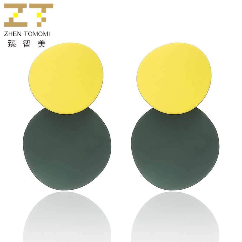 New Arrival wing Women's Fashion Unique Metal Drop Earrings Trendy Candy Colors Round Statement Earrings for Women Jewelry 2018