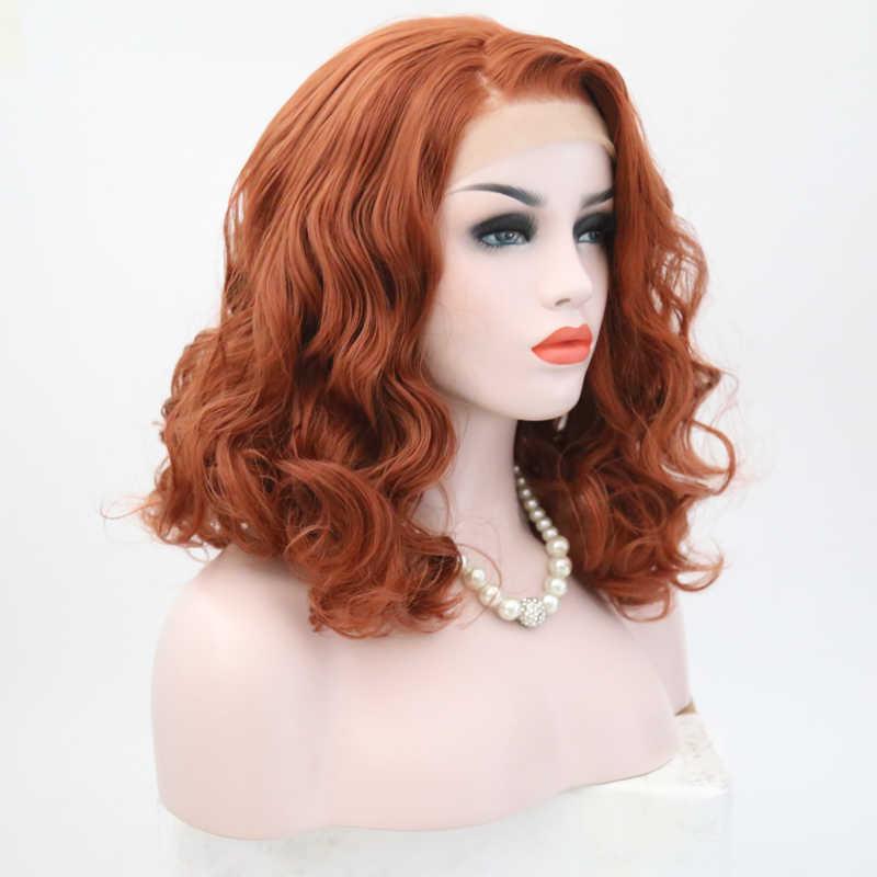 Carisma corto Peluca de pelo ondulado lado parte sintético peluca con malla frontal naranja Color rojo sin pegamento resistente al calor Bob pelucas para mujeres