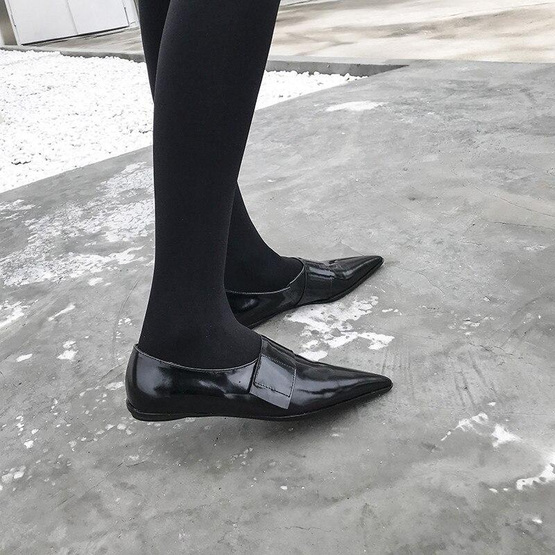 Véritable Printemps On Pointu Femme Crochet Casual De Hook Bout Femmes Talon Black Confort Plat black Chaussures Nouveau 2019 Slip En Cuir Knsvvli Noir Mode S5wgxqPnA