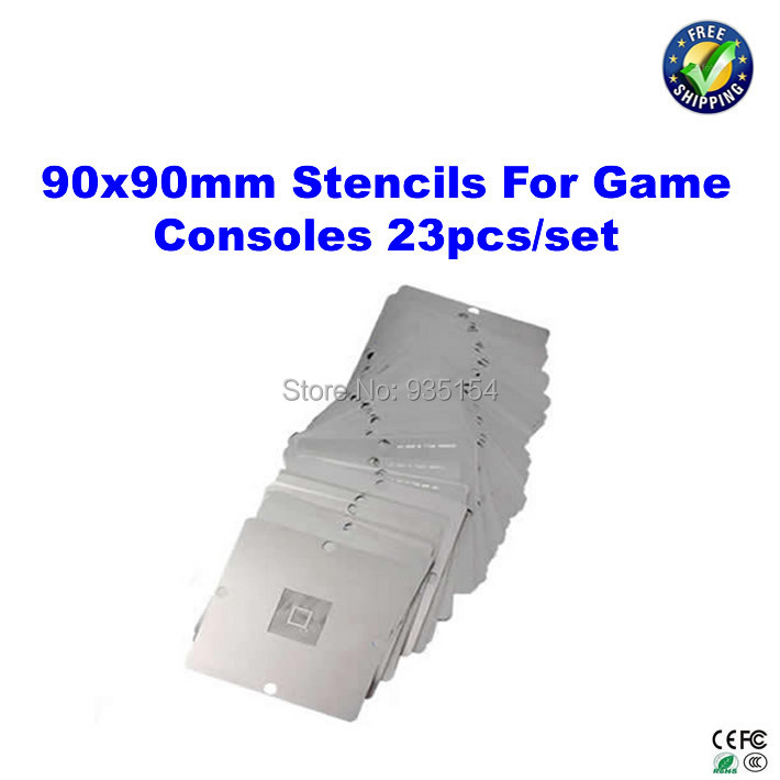 23 pcs/set 90mm*90mm BGA stencils  Game console Stencils for PS3, Xbox 360, Wii, etc game console stencils 90mm 90mm for ps3 and xbox360 with reballing station