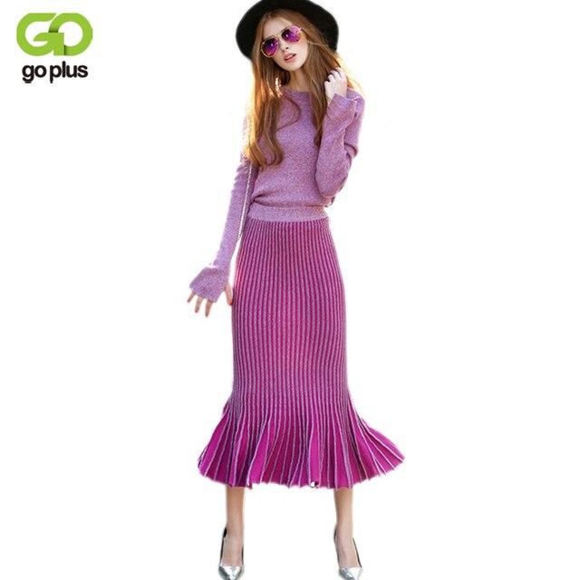 Goplus 2017 invierno moda de cintura alta traje de conjunto de las mujeres del color del gradiente suéter de punto mujeres ruffles sirena faldas set c3112