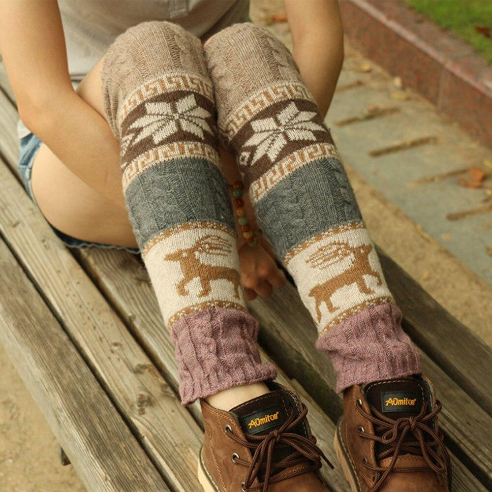Модные гетры для женщин с вышивкой, теплые зимние гетры до колена, вязать крючком для ног, теплые носки, длинные носки с манжетами