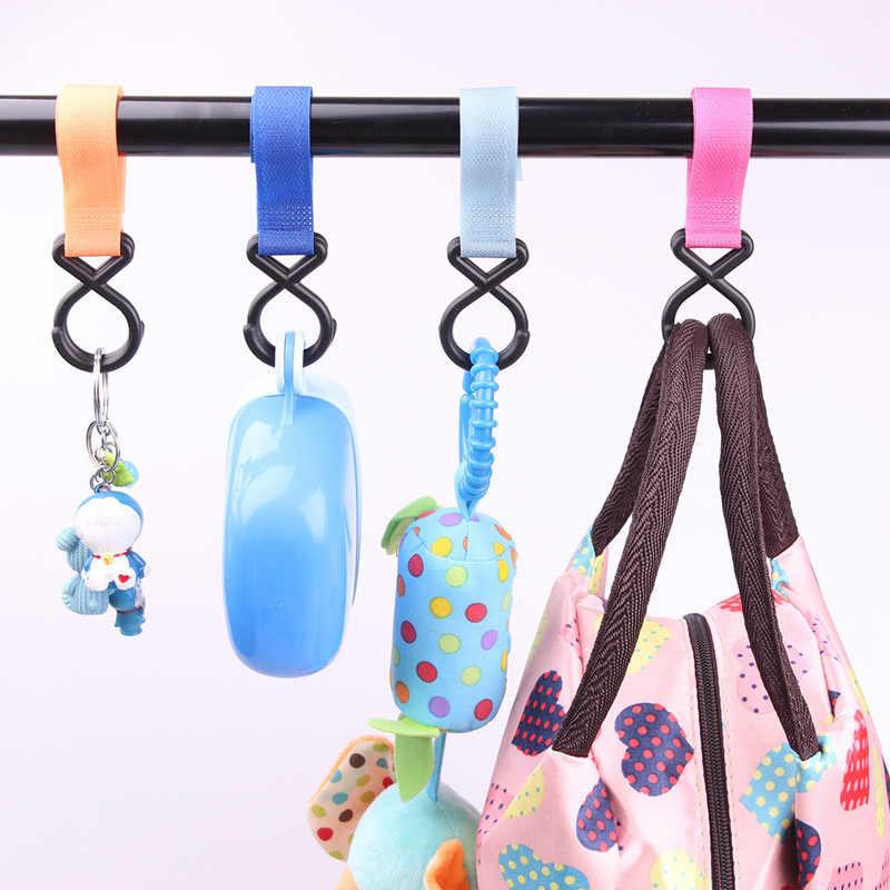พลาสติก Magic Stick เด็กรถเข็นเด็กอุปกรณ์เสริม 1 ชิ้น Hook Pram Pushchair Hanger แขวนรถเข็นเด็ก Hook สีสุ่ม