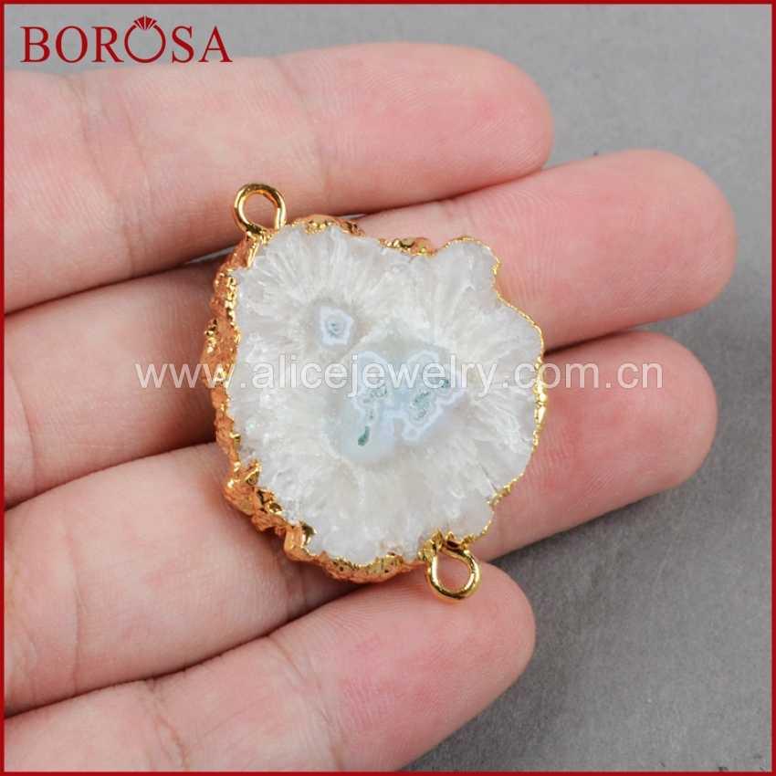 BOROSA 5pcs NATURAL SOLAR ควอตซ์ตัวเชื่อมต่อ Electroplated Golden Sun ดอกไม้สีขาว Druzy ควอตซ์สำหรับสร้อยข้อมือ G0225