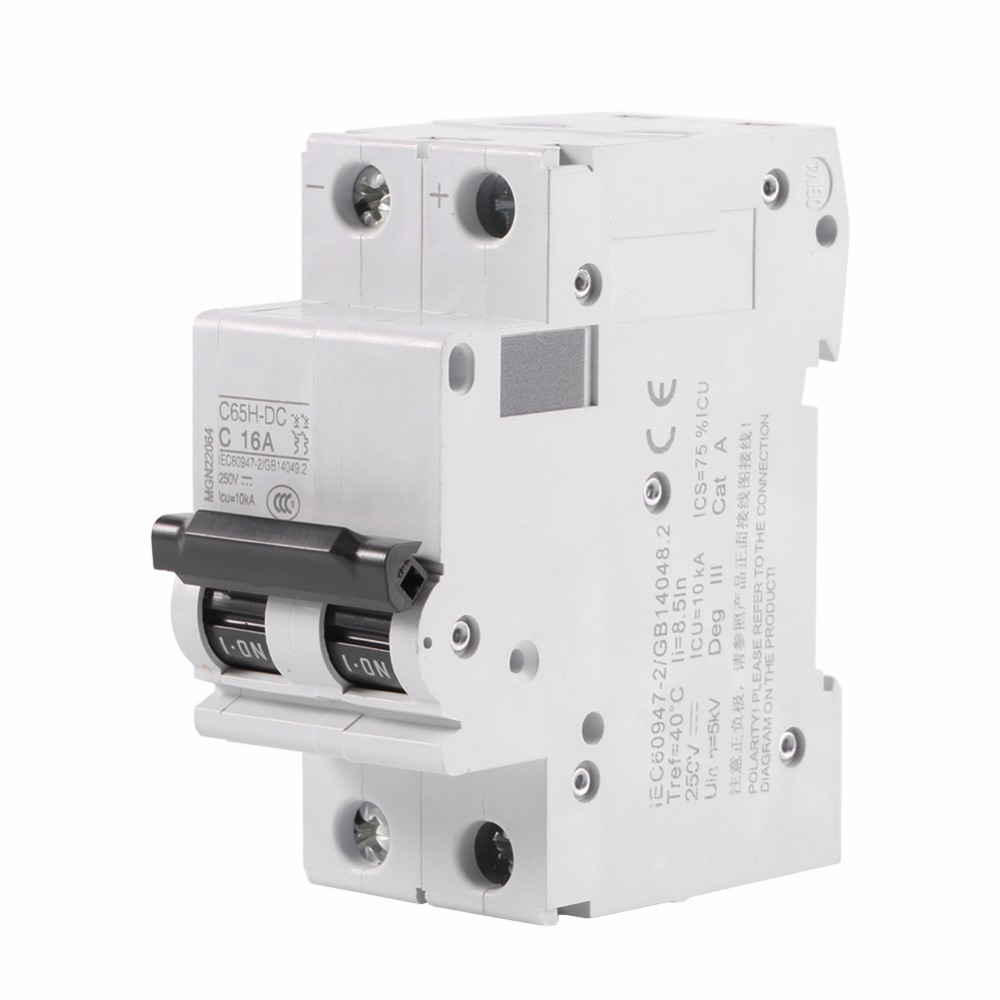 16A/ 32A/ 63A Amps Electric 2P 250V Miniature Circuit Breaker Circuit Breaker Air Switch Low-voltage C65H-DC for DC Systems abb circuit breaker air switch sh200 series switch 63a 4p