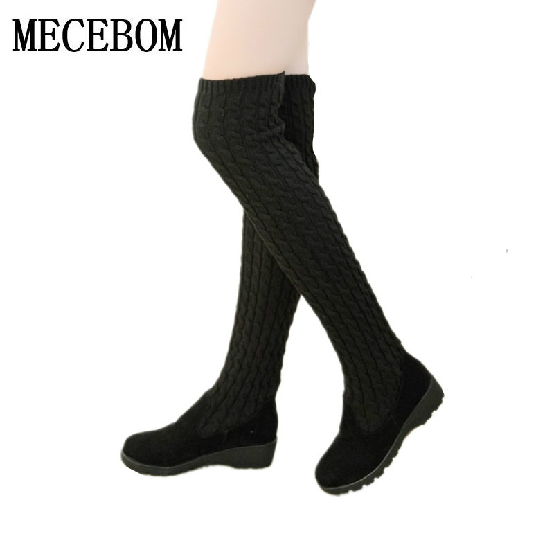 2018 fashion autumn winter boots Stretch strap woman boots warm over the knee high boots women shoes round toe down fur 168W women over the knee boots suede thigh high boots 2017 autumn winter ladies fashion fur warm high heel boots snow shoes woman