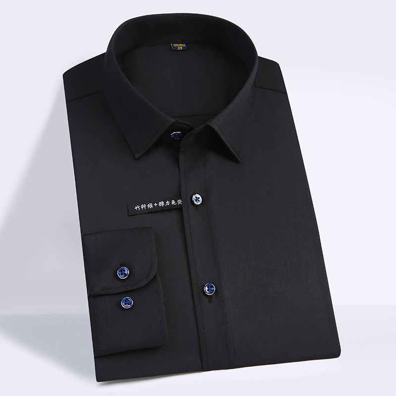 High Quality Classic Style Bamboo Fiber Men Dress Shirt Solid Color Men's Social Shirts Office Wear Easy Care(Regular Fit) 11