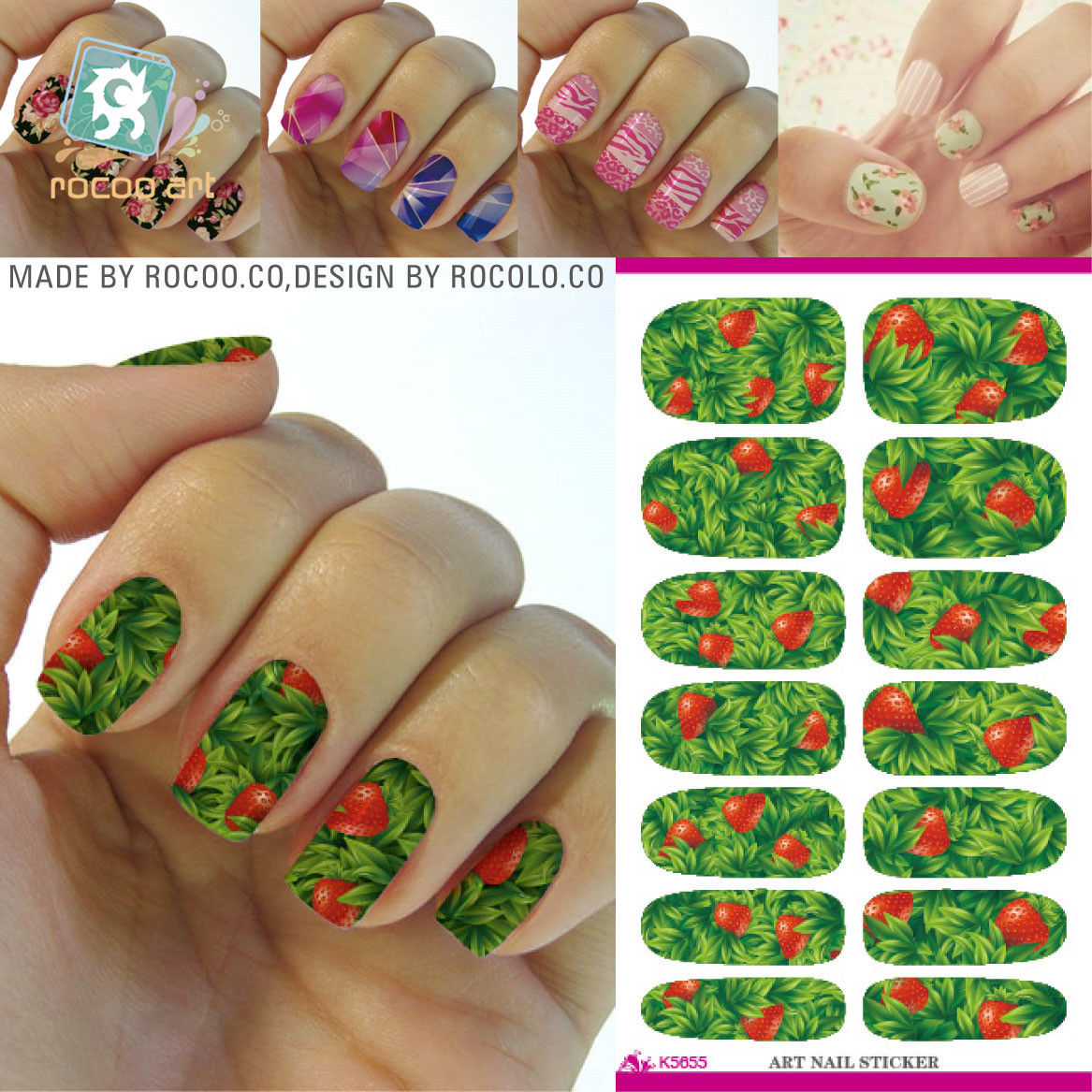 Hot water transfer stickers stickers full fruit pattern Manicure ...