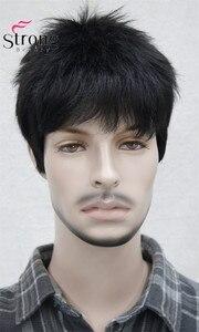 Image 3 - Короткий полосатый полностью синтетический парик для мужчин, мужские волосы, флисовые реалистичные парики