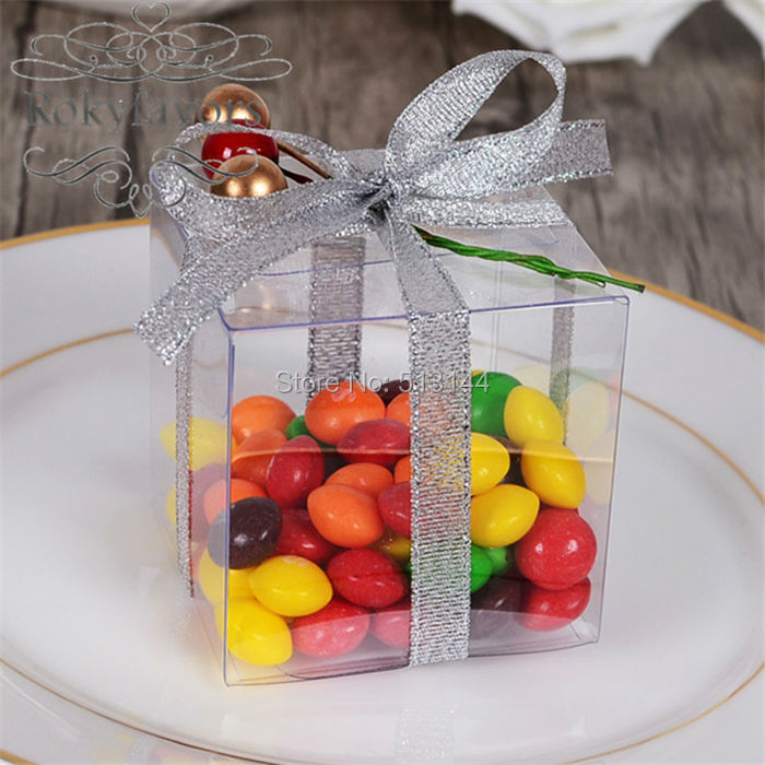 Free Shipping 100pcs 2 Party Favors Square Clear Plastic Pvc Box Macaron Plastic Favor Boxes Party Diy Package