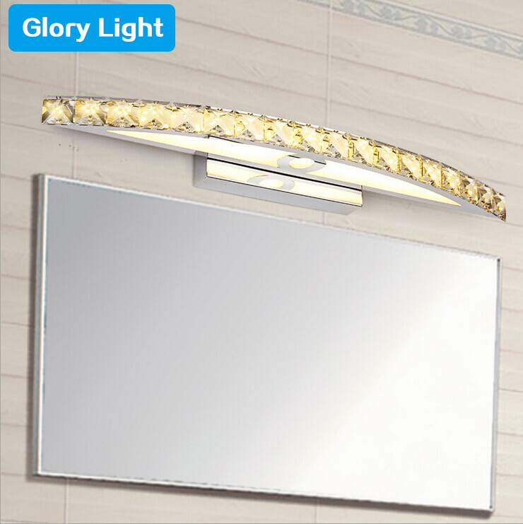 ФОТО GLORY LIGHT Modern crystal LED Mirror Lights Makeup room High Quality 10/15W Stainless Steel LED Mirror Front lighting sconce