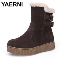 YAERNI Women Round Toe Flat Ankle Boots Woman New Fashion Buckle Style Shoes Ladies Warm Fur Winter Bootines Mujer