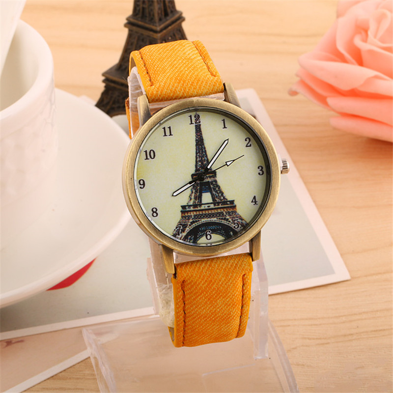 MEIBO Fashion Brand Women's Watches Eiffel Tower Vintage Leather Quartz Watch Women Ladies Wrist Watches Casual Clock Gifts