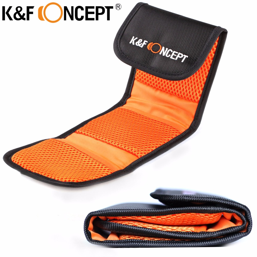 K&F CONCEPT Camera Lens Filter Bag Case Wallet Storage Pouch Holder 3 4 6 Pockets for Cokin UV CPL FLD ND Graduated for 25-77mm