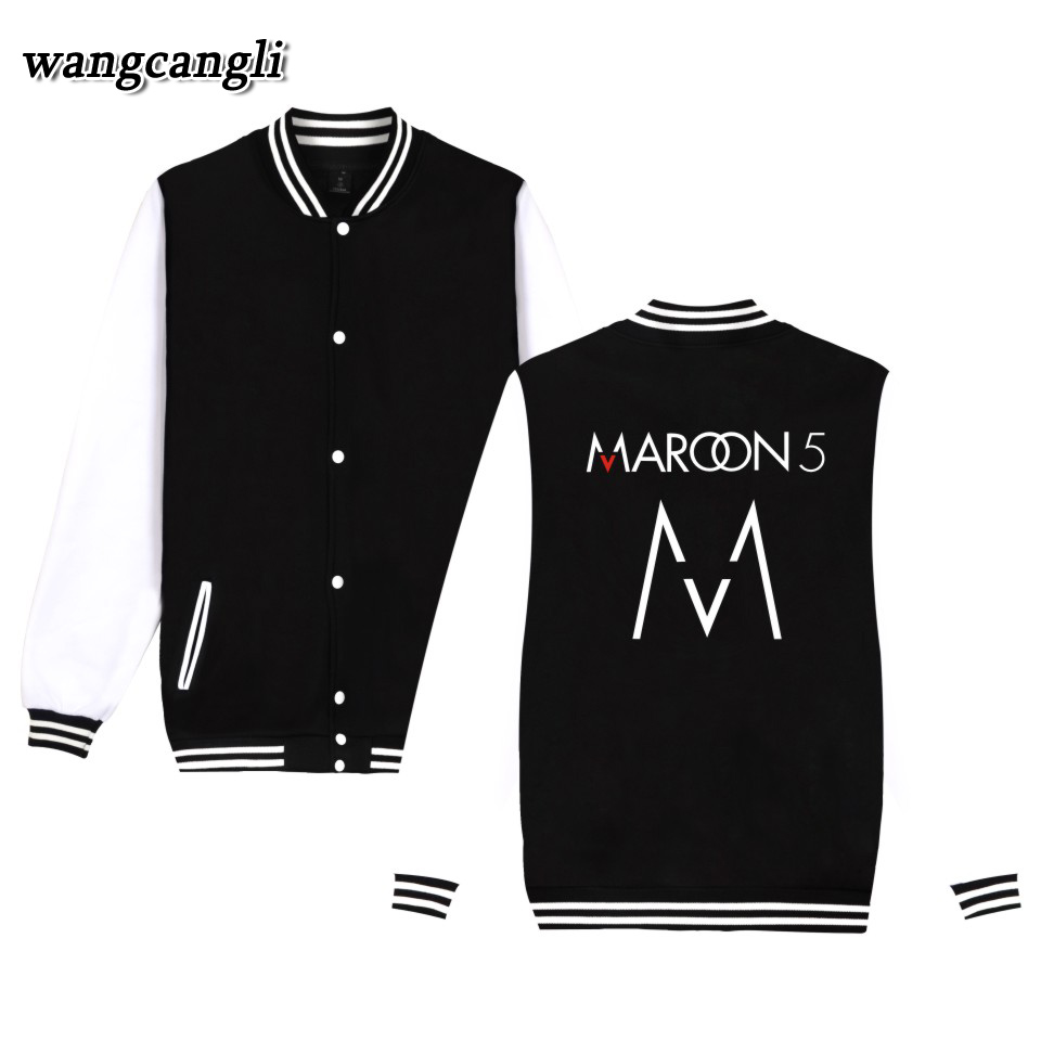 2017 Maroon 5 Rock Band Autumn Winter Cool Harajuku Women College Uniform Baseball Jacket Hip hop Coats Plus Size 4XL Jacket