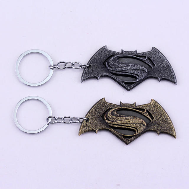 2 Color Movie Batman V Superman Dawn Of Justice Logo Gold 8cm Metal Keychain Keyring