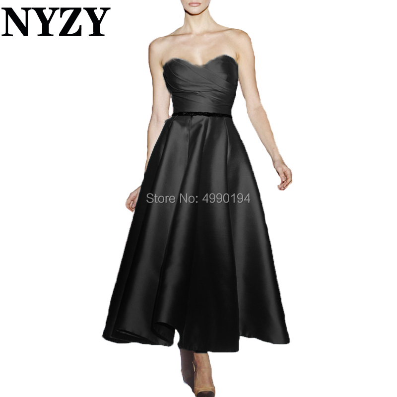 Cocktail     Dresses   NYZY C186 Tea Length Black Satin Formal   Dress   Party Gown Homecoming Graduation Robe Soiree Dubai