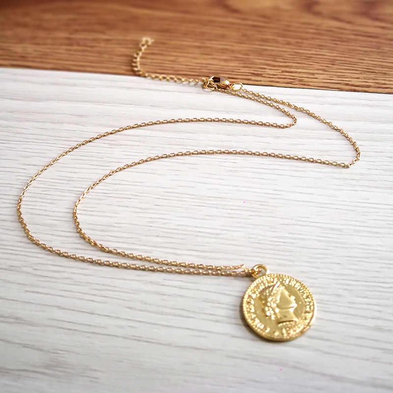 2018 פשוט בציר מגולף מטבע שרשרת לנשים אופנה זהב/כסף צבע Figur מדליון תליון ארוך שרשראות Boho תכשיטים