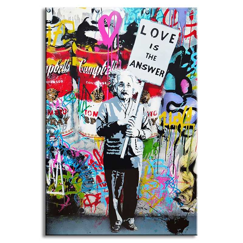 "Paintings Wall Art 1 Piece Banksy Art ""Love Is The Answer"" Canvas Colorful Graffiti Street Artwork A Man Holding A Sign Pictures"