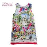 Pettigirl Lastest Girls Dresses Retro Printed Sleeveless Baby Flower Dress For Kids Girl Summer Clothing GD90224-642F