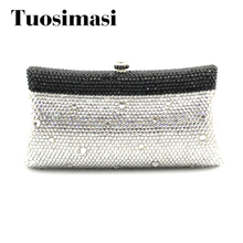 Tuosimasi Women Handbags Black Silver Crystal Evening Purse f524c5aca5ba