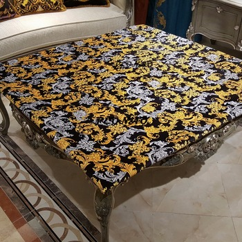 2018 New Style New Arrivals European Style Home Table Cloth Golden White Floral Tablecovers