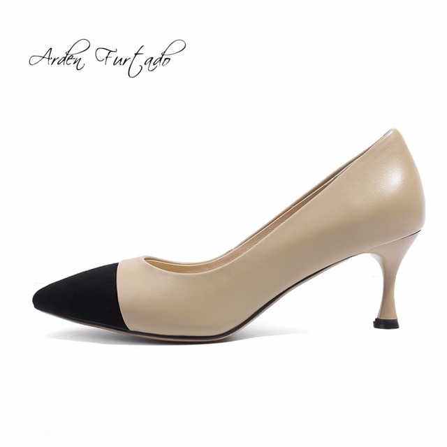 Arden Furtado 2018 spring autumn genuine leather office lady dress shoes  for woman 6cm pointed toe slip on fashion shoes pumps 581a5a0120b6