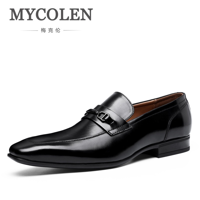 MYCOLEN Spring Men Dress Shoes Brand Genuine Leather Casual Slip-On Male Business Wedding Shoes Square Toe Men Formal Shoes branded men s penny loafes casual men s full grain leather emboss crocodile boat shoes slip on breathable moccasin driving shoes