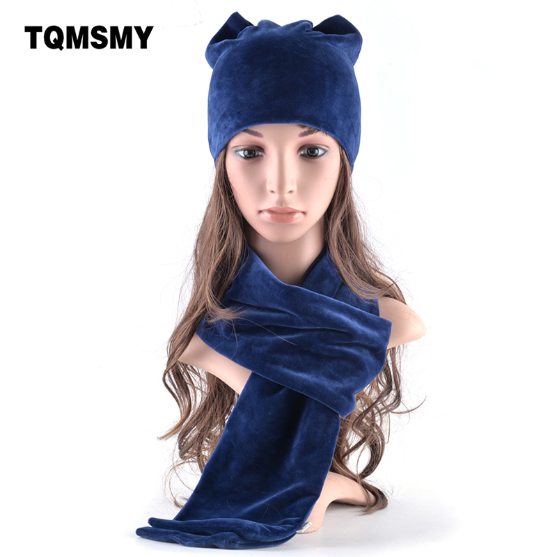 TQMSMY Soft Velvet Hat Scarf For Women's Winter Hats Lovely Girls Beanies Ladies Cat Ears Bone Casual Cap 2 Pieces Hat Scarf Set