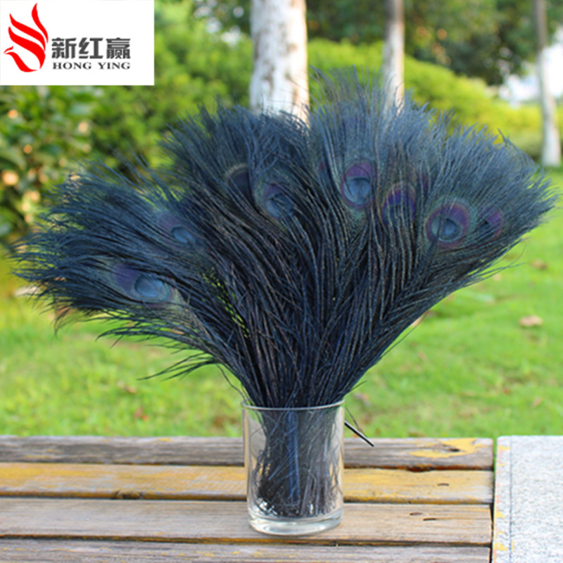 25-30 cm Blue Wholesale 10-100pcs Peacock feathers eye 10-12 inches