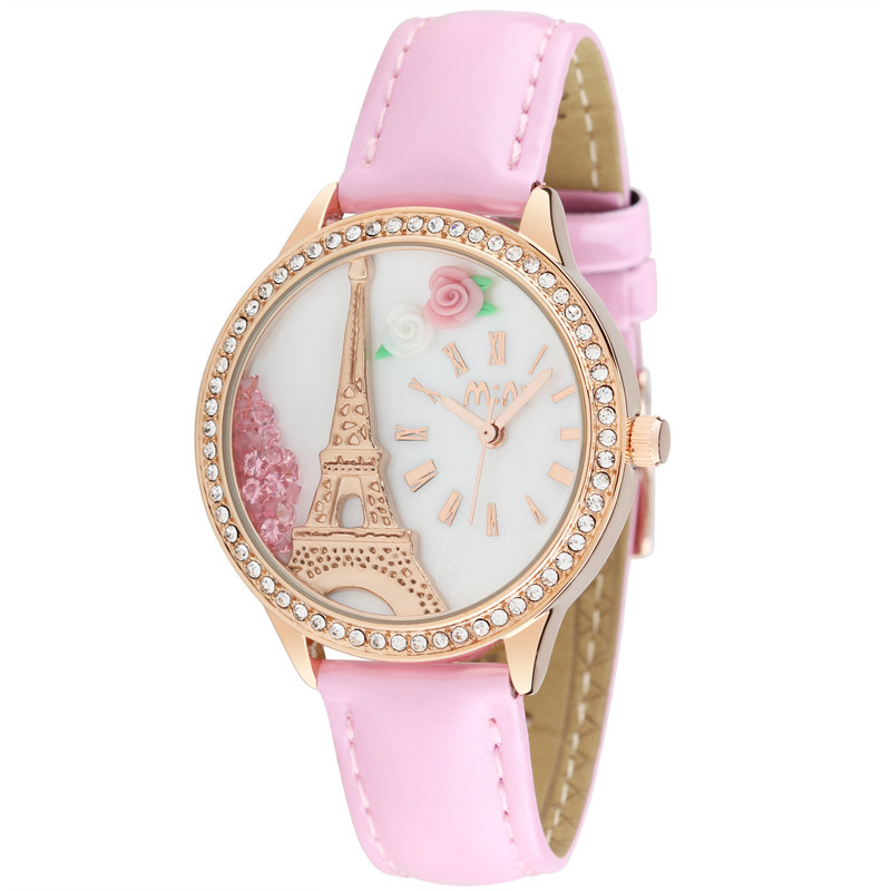Fashion Gold Plated Eiffel Tower Wristwatch Luxury Moving Crystal Women Dress Watches Mini Clay Rose Clock 3ATM Waterproof NW841