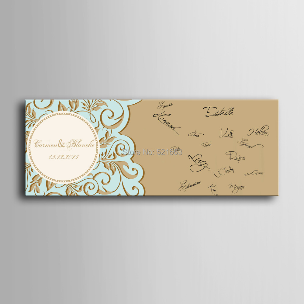 Guest Signature Party Gift Wedding Canvas Signing Board Canvas Painting Retro Pattern Wedding DIY Decoration Free Shipping