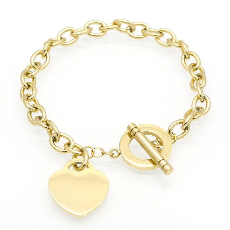 Venda quente de Amor Mulheres Pulseira Marca Mulheres Novo Estilo Corrente de Ouro Coração Pulseiras Para Mulheres Pulseira Da Moda Jóias