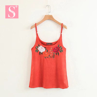STVY Female Camisole Tanks Top 2018 Spring Summer Flowers Embroidery Suede Tops Women Camisole Feminina